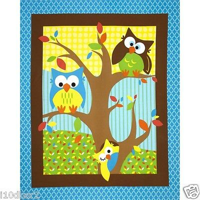 Bright Owl Fabric Panel Wall Hanging Quilt Top Bright Colorful Owls  New
