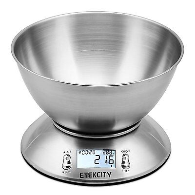 Etekcity 11lb/5kg Stainless Steel Kitchen Food Scale with Detachable Mixing Bowl