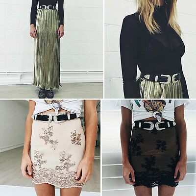 Boho Fashion Women Vintage Metal Leather Double Buckle Waist Belt Waistband NEW