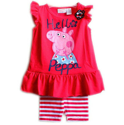 New Baby Girl Peppa Pig Dress Top + Pants Set Cotton size 1-6 years Gift