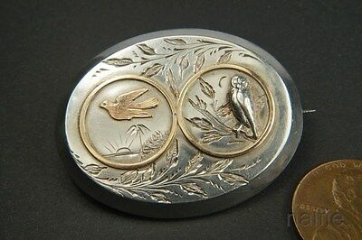 ANTIQUE ENGLISH VICTORIAN SILVER GOLD AESTHETIC NIGHT & DAY OWL BROOCH c1880s