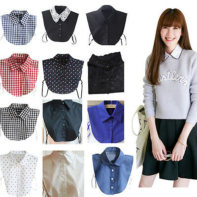 Unisex Peter Pan Detachable Lapel Shirt Women Fake False Collar Choker Necklace
