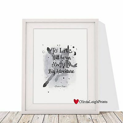 Disney Peter Pan Watercolour Art Print-Wall Art-Gift-Nursery-Kids-Word Art Quote