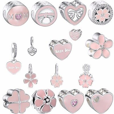 European Silver Charms Pink Enamel Beads For 925 Sterling silver bracelets AU