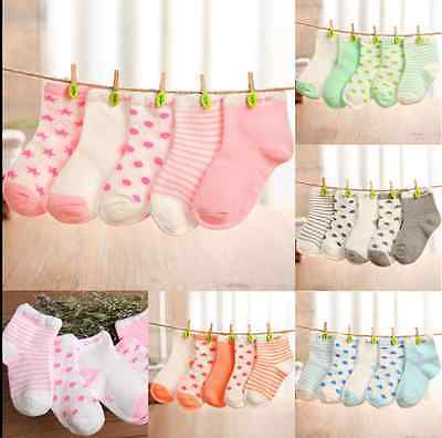Cute 5 Pairs Baby Boy Girl Cartoon Cotton Socks NewBorn Toddler Kids Soft Sock