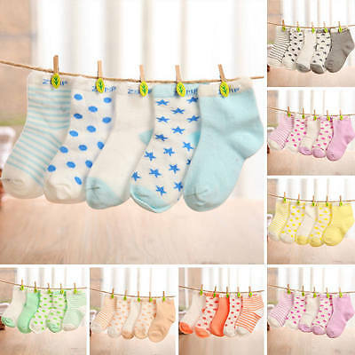 5 Pairs Baby Boy Girl Unisex NewBorn Infant Toddler Kids Cotton Room Sock 0-6Y