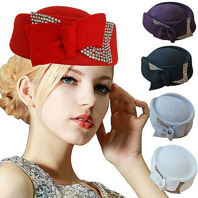 Winter Womens Rhinestone Teardrop Wool Felt Fascinator Hat Cocktail Party  A254