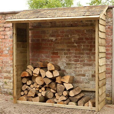 Large Wooden Overlap Wall Log Store Heavy Duty  Firewood Kindling Storage