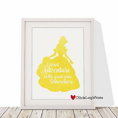 Disney Beauty And The Beast Quote Art Print Watercolour-Wall Art-Gift-Nursery