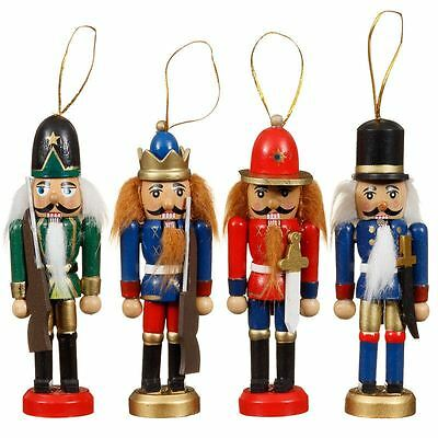 New Christmas Xmas Tree Decoration Wooden Nutcrackers Figures Pack of 4