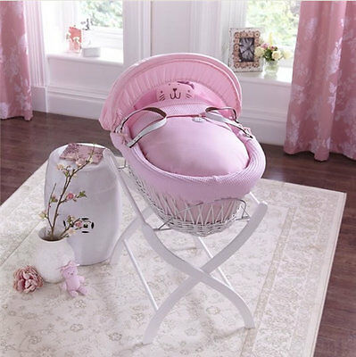 Brand new in box Izziwotnot white wicker moses basket pink gift with white stand