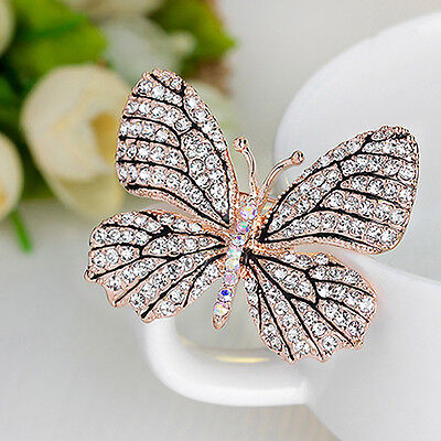 Lady Rhinestone Butterfly Pattern Brooch Pin Evening Party Jewelry Xmas Gift