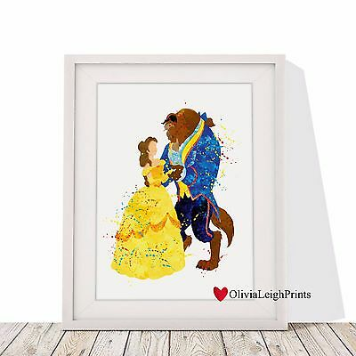 Disney Beauty And The Beast Watercolour Art Print-Wall Art-Gift-Nursery-Poster