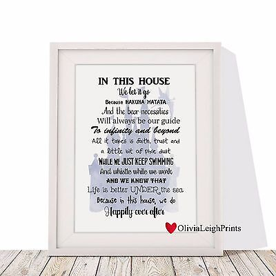 Disney In This House Art Print-Wall Art-Gift-Nursery-House Rules Word Art Quote