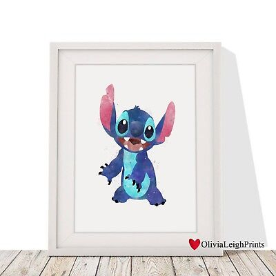 Disney Lilo And Stitch Watercolour Art Print-Wall Art-Gift-Nursery-Poster