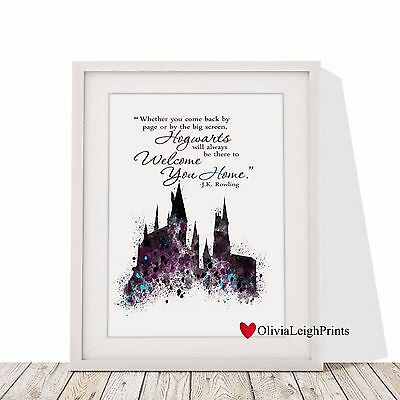 Harry Potter Hogwarts Castle Watercolour Art Print-Wall Art-Gift-Word Art Quote