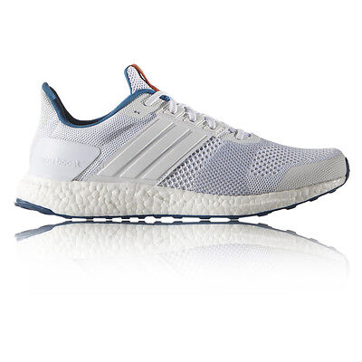 Adidas Ultra Boost ST Mens White Blue Support Running Sports Shoes Trainers