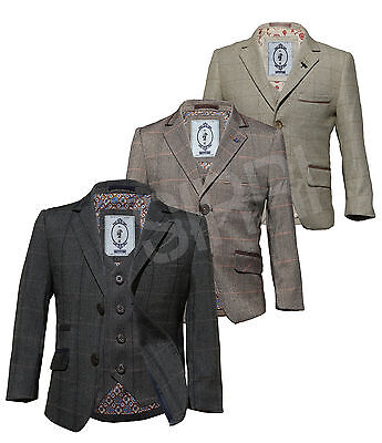Wool Mix Check page Boy Suits Charcoal grey Beige Brown Boys Winter Formal Suit