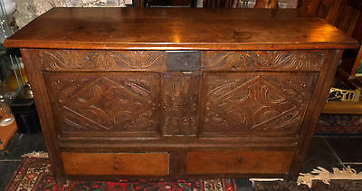 Antique 17th 18th C? oak carved coffer mule chest blanket box drawers candle box