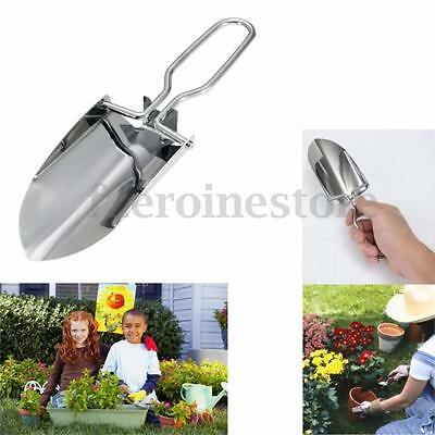 Mini Handy Stainless Folding Shovel Garden Outdoor Spade Hiking Trowel Kid DIY