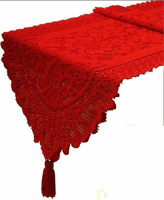 Red Table Lace Runner Xmas Decoration Table Cloth Festive Wedding Dinning Party