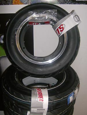 Vespa Px T5 Lml Complete Sip Tubeless Tyre And Rims Pair Matt Black Polished Lip