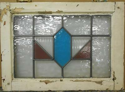 "MID SIZED OLD ENGLISH LEADED STAINED GLASS WINDOW Stunning Geometric 22.25"" x 16"