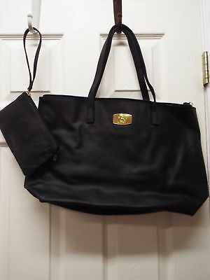 JOY Genuine Leather Smart Bag with RFID-Protected Clutch-Jet Black-NWT