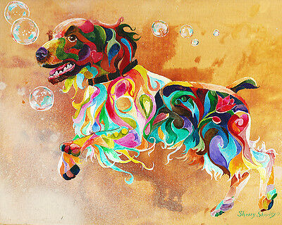 """BUBBLES"" ENGLISH Spriger Original 12X16 Acrylic Framed DOG Painting by Sherry"