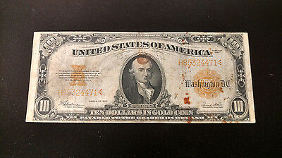 Series 1922 $10 Dollar Large Size Gold Certificate