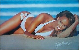 TYRA BANKS ~ WHITE SWIMSUIT ~ 22x34 PINUP POSTER ~ NEW/ROLLED!