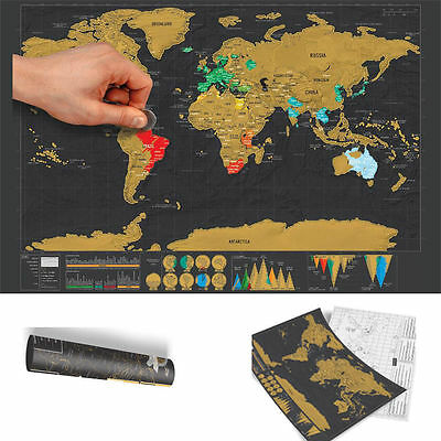 XL Deluxe Travel Edition Scratch Off World Map Poster Personalized Journal Map