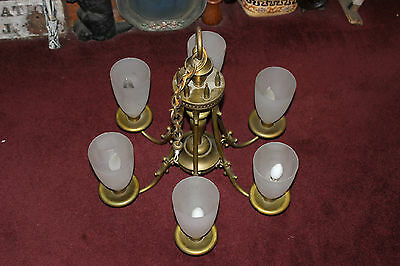 Vintage Victorian Art Deco Brass Metal 6 Light Architectural Chandelier-LQQK
