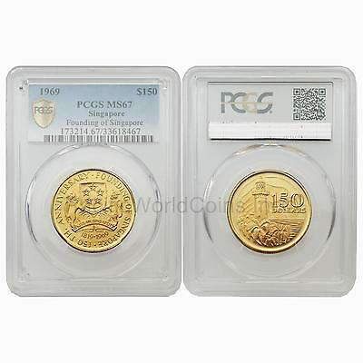 Singapore 1969 Founding of Singapore 150 Dollars Gold Coin PCGS MS67