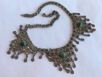 Vintage Mexican Handmade 925 Sterling Silver Green Turquoise Necklace 15 1/8""