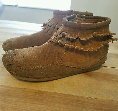 Minnetonka Brown Leather Suede Fringe Ankle Zip Moccasins Shoes 2 Youth Boy Girl