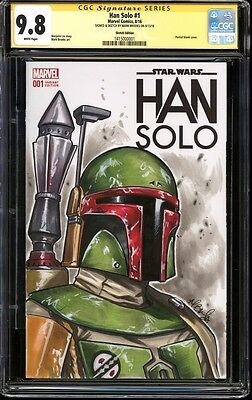 CGC SS 9.8 Han Solo 1 Star Wars blank Signed Sketched Mark Brooks Boba Fett
