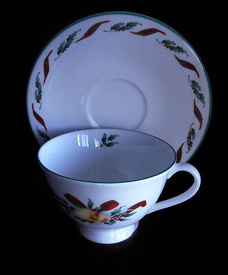 Royal Doulton Festival H5167 Christmas Footed Cup and Saucer Set 1990 Bone China