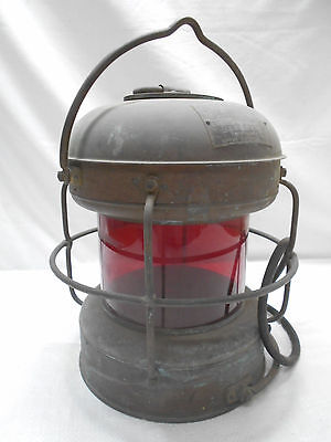 "Vintage Copper Ship's Light ""Red Light"" Lamp Electric Red Japanese  #40"