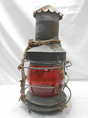 Vintage UNIQUE Copper Tin Ship's Light Lamp Red Glass with Rope Japanese  #41