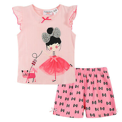 Girls PJs Size 0-2 Summer 2pc Cotton Short Sleeve Pyjamas Set Pink Girl with Cat
