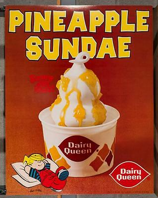 Vintage Dairy Queen Promotional Poster Dennis The Menace Pineapple Sundae dq2