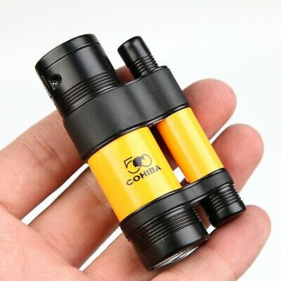 COHIBA Black & Yellow  3 TORCH JET FLAME CIGAR CIGARETTE LIGHTER With PUNCH
