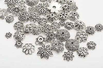 45g (about 150pcs) Mixed Tibet Silver Beads Caps Spacer For Jewelry Making new