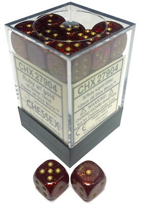 D6 Dice Glitter 12mm Ruby/gold (36 Dice In Display)  - BRAND NEW