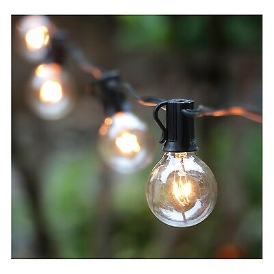 25FT G40 Globe String Light with 25 Clear Bulbs by Brightown (Black wire) HCD