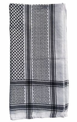 New! Islamic Clothing White and Black Cotton Arab Kefiyyeh Scarf For Men Arafat