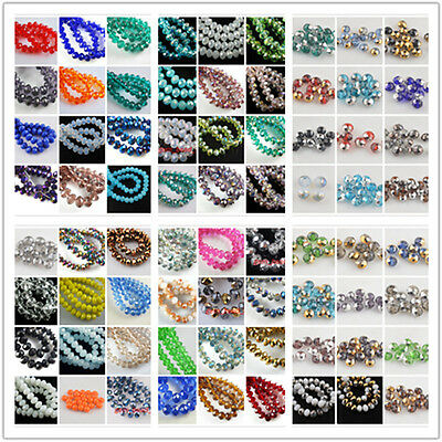 60pcs 8x6mm Rondelle Faceted Crystal Glass Loose Colorized Beads 69Colors