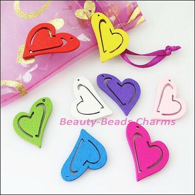12Pcs Mixed Craft Wood Wooden Flower Butterfly Charms Pendants 42x48mm