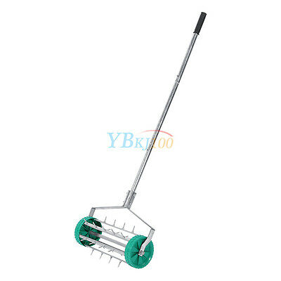 Heavy Duty Garden Lawn Roller Aerator Soil Spike Fertilizer Tool Steel Spikes